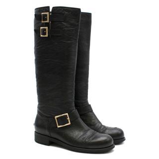 Jimmy Choo Black Yule leather biker knee boots
