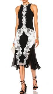 Jonathan Simkhai Crepe Lace-Trim Midi Dress