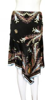 Roberto Cavalli gold embellished printed silk skirt