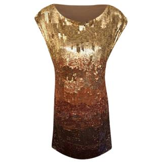 Alice + Olivia Gold Sequin Mini Dress