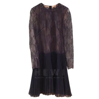 Valentino Navy Lace Panelled Dress