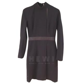 Hermes Black Wool Dress W/ White Insert & Leather Belt