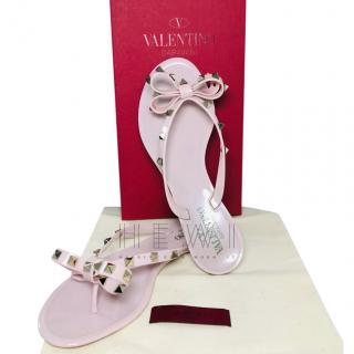 Valentino Baby Pink Rockstud Flat Sandals