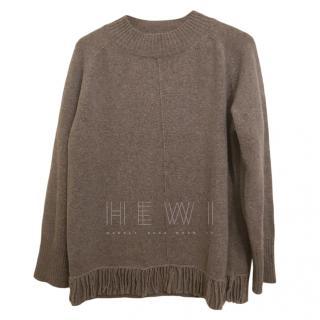Max Mara Grey Cashmere & Wool Fringe Jumper