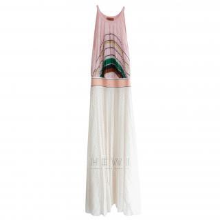 Missoni Pink & White Pleated Knit Maxi Dress