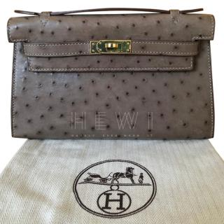 Hermes Ostrich Kelly Pochette Bag