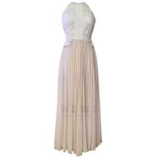 Elie Saab Ecru Halterneck Lace Detailed Gown