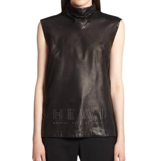 Helmut Lang Leather & Wool High Neck Top