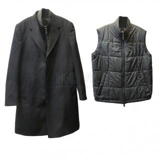 Brioni Black Wool Coat & Removable Gilet