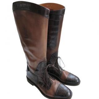 Gucci Men's Leather & Crocodile Riding Boots