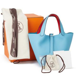 HERMES leather Picoti bag Bleu du Nord Togo Leather & Rouge de Coeur