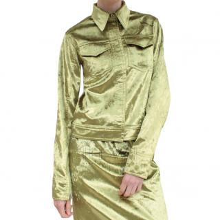 Rejina Pyo Velvet Chartreuse Yara Jacket