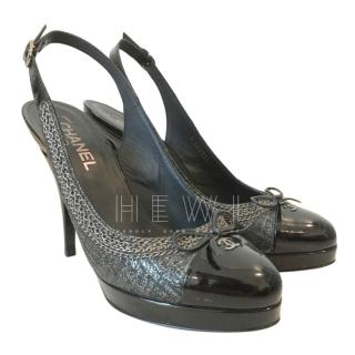 Chanel Chain Trim Slingback Sandals