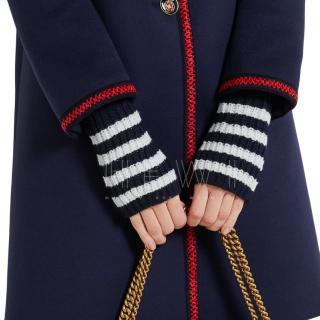 Gucci Wool Knit Striped Fingerless Gloves