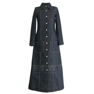 McQ Blue Denim A-Line Coat Dress