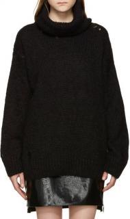Saint Laurent Black Mohair Distressed Rollneck jumper
