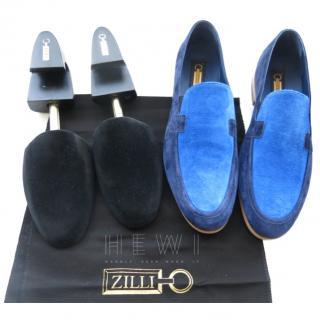 Zilli Men's Two-Tone Blue Suede Loafers