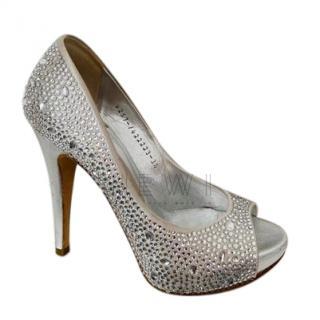Gina Crystal Embellished Peep Toe Pumps