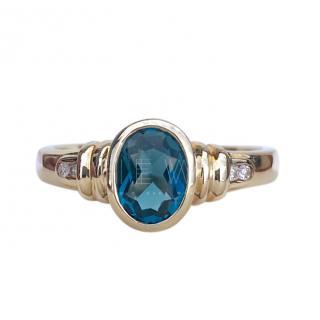 Bespoke Blue Topaz Diamond Ring