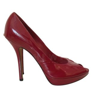 Dior Red Peep Toe Pumps