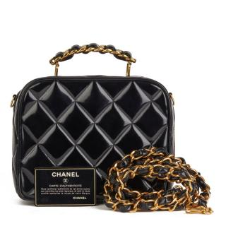 Chanel Patent Leather Quilted Small Lunch Box Bag