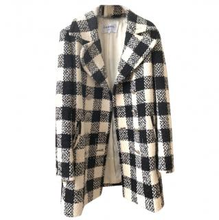 Chanel Black & White Plaid Tweed Coat