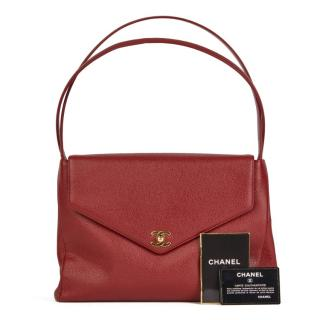 Chanel Red Caviar Leather Vintage Shoulder Bag