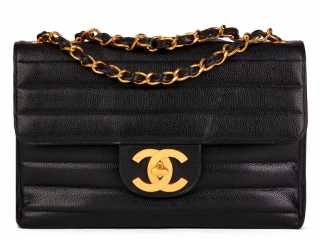 Chanel Black Caviar Leather Striped Quilt Jumbo Flap Bag