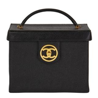 Chanel Vintage Caviar Leather Top Handle Vanity Case