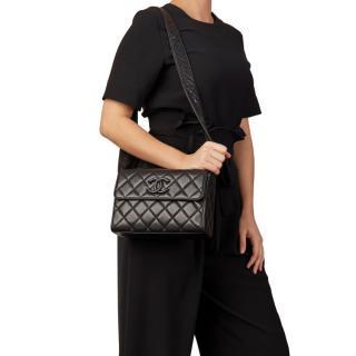 Chanel Vintage Quilted Leather Logo Shoulder Bag