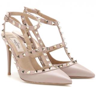 Valentino Garavani Poudre Rockstud Leather Sandals