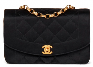 Chanel Vintage Black Satin Mini Diana Flap Bag