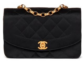 Chanel Vintage Black Satin Mini Diana Flap Bag