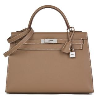 Hermes Epsom Leather Etoupe 32cm Kelly Sellier