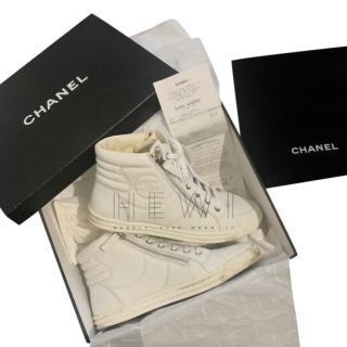 Chanel White Hi-Top CC Sneakers