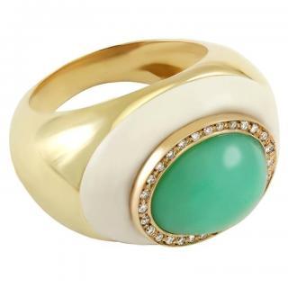 Annellino Fine Jewellery Chrysoprase & White Diamond Cocktail Ring
