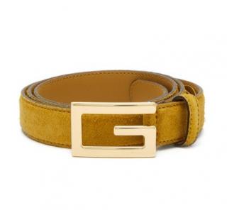 Gucci Men's Mustard Suede G Buckle Belt