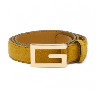 Gucci Men's Mustard Suede G Buckle Belt