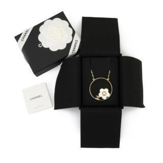 Chanel Gold Tone Camellia Hoop Necklace