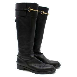 Gucci Black Leather Riding Boots
