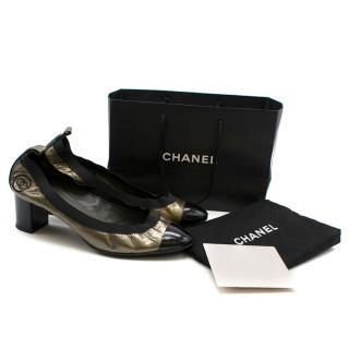Chanel Metallic Patent Elastic Low Heel Pumps
