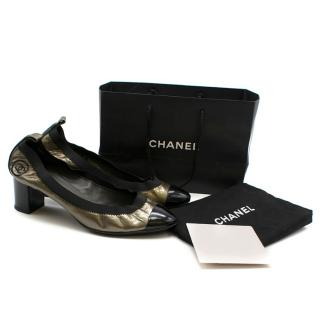 Chanel Metallic Patent Elastic Low Heel Pumps