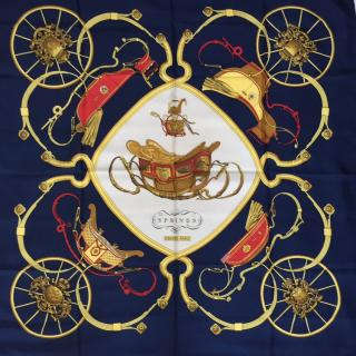Hermes Navy Springs Silk Scarf 90