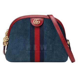 Gucci Blue Suede Ophidia Small Shoulder Bag