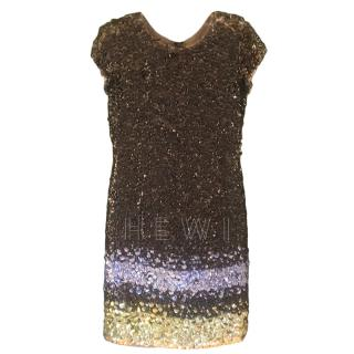 Oscar De La Renta Multi-Coloured Beaded Sheath Dress