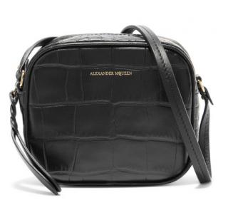 Alexander McQueen Croc-effect leather camera bag