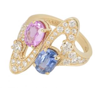 Bvlgari Yellow Gold Diamond & Multi-Stone Ring