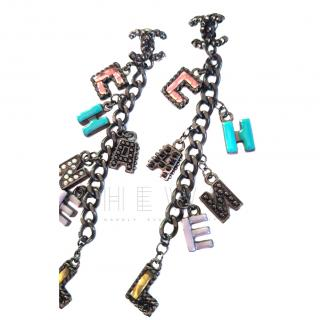 Chanel Cuba Collection Letter Charm Earrings
