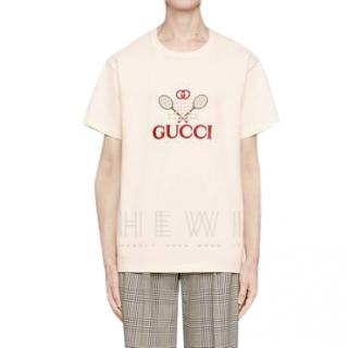 Gucci Ecru Tennis T-Shirt - New Collection