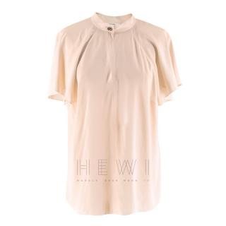 Lanvin Pink Sheer Chiffon Short Blouse
